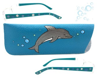 Women's Blue 1.75 Strength Hand Painted Polka Dot Reading Glasses with Dolphin and Bubble Eyeglasses Case