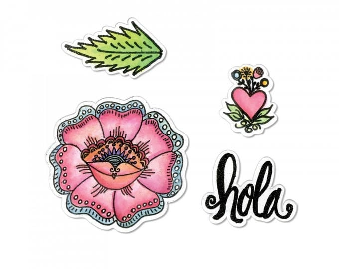 New! Sizzix Framelits Die Set 4PK w/Stamps - Hola Flower by Crafty Chica 662318