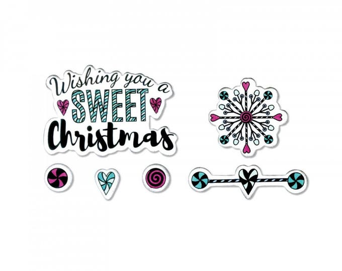 New! Sizzix Framelits Die Set 5PK w/Clear Stamps - Sweet Christmas by Jen Long 662445