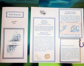 """Bridal Wedding DL Card Traditional Something Blue Lucky Horseshoe, Sixpence for Brides Shoe & Rhinestone """"I DO"""""""