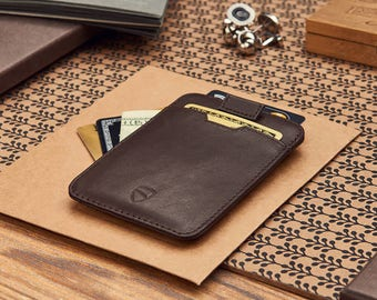 CHELSEA Slim Card Sleeve Wallet with RFID Protection,  Ultra Thin Card Holder Design (Brown)
