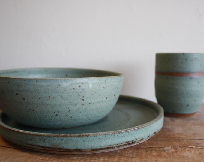 Dinnerware Set - Moss Green - Dinner Plate - Dinner Bowl - Tumbler - Handmade - KJ Pottery