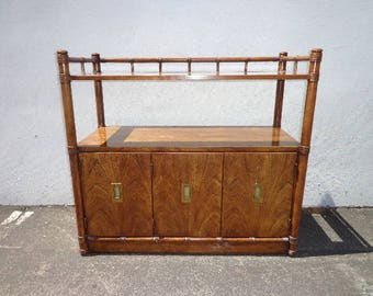 Bamboo Table Buffet Vintage Bar Tea Cart Server Console Tv Stand Cabinet Storage Mid Century Regency Boho Chic Wood CUSTOM PAINT AVAIL