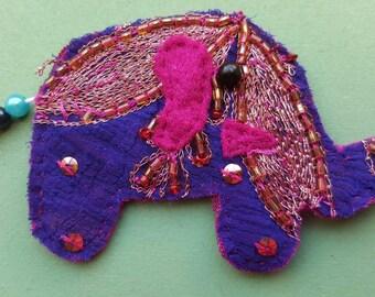Unique handmade elephant brooch