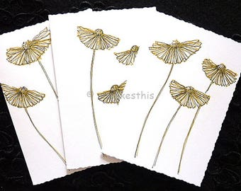 Handmade original ink drawing Blank Note Cards Invitation Birthday Thank You Card set of 3