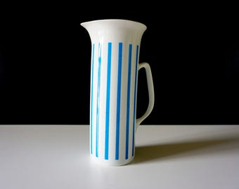 Vintage Mid Century Modern Lagardo Tackett Schmid Porcelain Japan Water Pitcher White and Blue Stripes