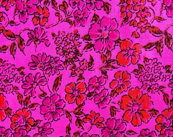Vintage pure silk hot pink with orange flowers fabric
