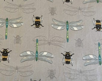 Lewis Irene Grey BUMBLE BEE dragonfly quilting cotton fabric