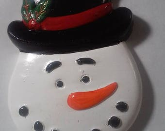 ceramic hand painted snowman ornament