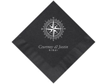 Personalized Black Napkins Wedding, Compass, Black Cocktail Napkins, Personalized Black Beverage Napkins, Color Options Available