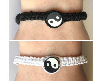 Handmade Adjustable Hemp Yin Yang Bead Bracelet Bundle