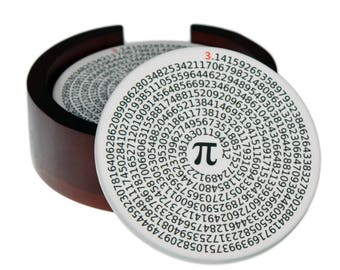 Value of Pi Coaster Set - Sandstone Tile Round Coasters with Cork Back - 4 Piece Set -  Wood Box Caddy Included