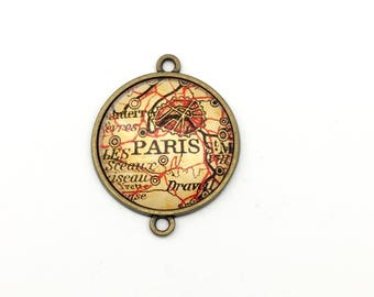 1 Paris glass pendant  connector bronze tone ,30mm # Con166