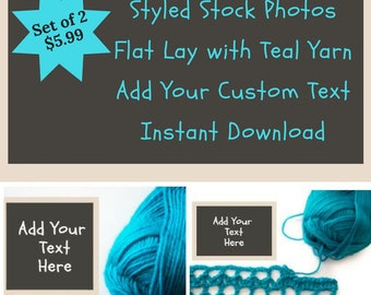 Styled Stock Photos | Digital Download | Skein of Teal Yarn with Copy Space | Set of 2