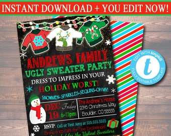 editable ugly sweater party invitation christmas party invitation holiday worst invite adult christmas party - Ugly Sweater Party Invitation
