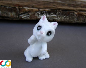 Glass cat-Lampwork glass cat -Cat figurine-Lampwork cat-Gatto di vetro-Chat en verre-White cat