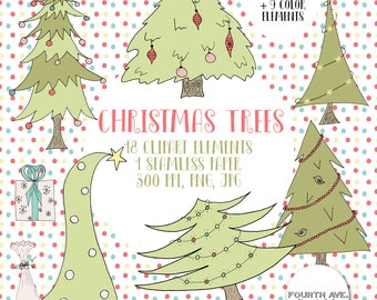 Hand Drawn Christmas Tree Clipart, Doodle Christmas Tree Clipart, Quirky, Christmas Trees, Hand Drawn, Christmas Tree Doodle Clipart