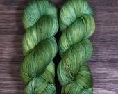 Hand Dyed Yarn - 'Emerald City' Superwash Merino Nylon Fingering Sock Yarn green, Wizard of Oz yarn 420 yards