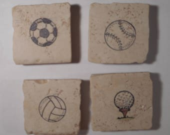 """Decorative Sports Magnets on 2"""" by 2"""" Tumbled MarbleTiles"""