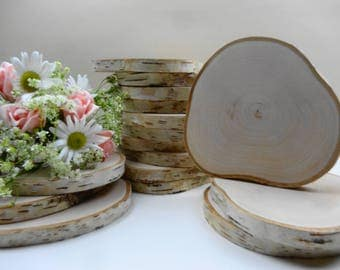 """Wood Slices, Birch Wood Slices, Wood Slabs, Tree Slices, Wedding, Woodwork, Chargers, Nature Decor, Wood Circles, 5""""-6"""" Tree Rounds, E32"""