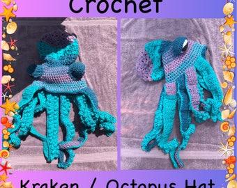 Kraken, Octopus, Crochet Kraken, Crochet Octopus, Hand Made, Custom Made, Winter Hat, Crochet Hat, Twisted Kraken Hat