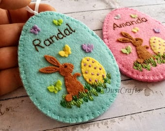 Personalized Easter gift, Personalised Easter ornament, Personalized Easter Egg, Felt Egg Easter Candy Holder Easter gift with Name