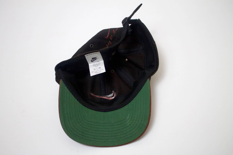 3b9cd84fdbc21 90s Vintage NIKE Strapback 90s Nike Swoosh Logo Embroidered 1995 Black  Brown Tan Green Underbrim