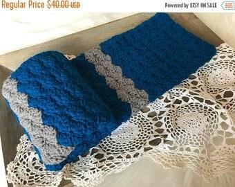 SALE Crochet Baby Blanket - Knit Baby Blanket - Stroller Travel Blanket - Toddler Blanket - Chunky Baby Crib Blanket Blue and Gray