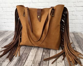 Two Tone Brown Leather Fringe Tote Bag / Brown Fringe Leather Tote / Leather Tote / Fringe Leather Bag / Brown Leather Purse / Tote Bag