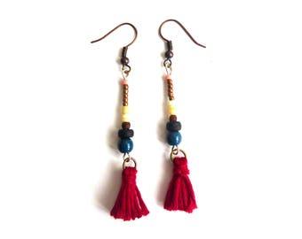 Red and Pearl tassel earrings