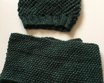 Hipster Slouch Hat and Infinity Scarf Set.  Hand Knit Accesories