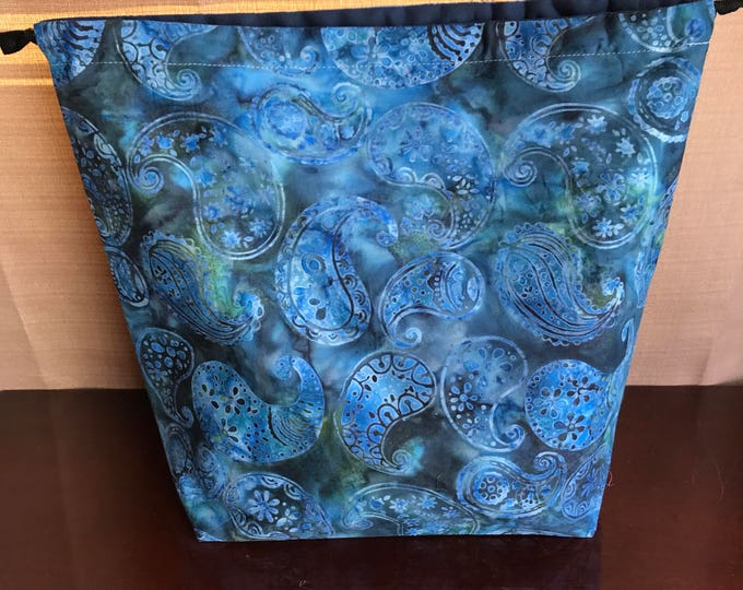 Batik Paisley : Large Drawstring Project bag