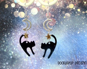 Halloween earrings - Black cat earrings - Halloween jewellery - Witches cat - Moon cat - Black cat jewellery - Cat and moon - Etsy UK