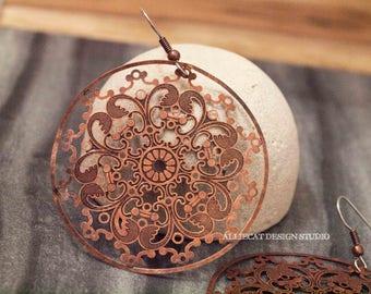 Boho Earrings, Gypsy Earrings, Bohemian  Earrings, Bohemian Large Copper Medallion Earrings