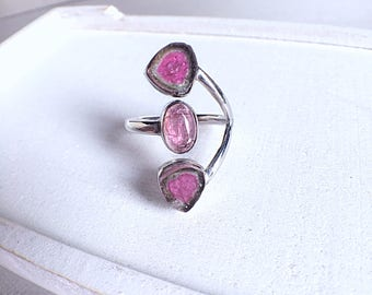 watermelon tourmaline ring, tourmaline ring, pink tourmaline, tourmaline slice, tourmaline jewelry, gemstone ring, crystal ring, gift ideas