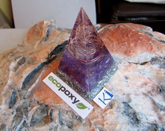 "Orgone Pyramid Nubian - Golden Ratio 3.5""  Auralite Amethyst & Selenite EcoPoxy®  Russian Pyramid Eco Friendly Resin"