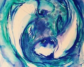 Love Harmony Two Blue Fish - Print