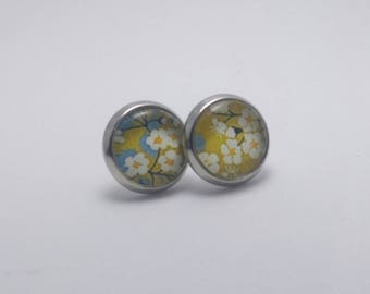 Earrings 10mm glass cabochon silver plated liberty very white cherry blossom
