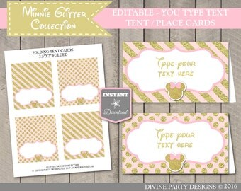 INSTANT DOWNLOAD Editable Pink & Gold Glitter Mouse Printable Tent Cards / Place Cards / You Type / Glitter Mouse Collection / Item #2028