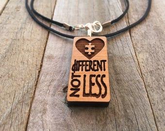 Autism Jewelry-Autism Awareness Different Not Less-Autism Puzzle Piece Necklace-Autism Art-Art Jewelry-Laser Cut Pendant-Autism Gift
