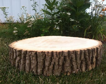 """ONE 10-12"""" Rustic Wedding Centerpiece Slice Wood Disc Tree Branch Log Round LARGE Coaster Cake stand"""
