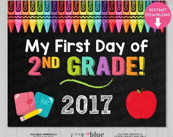 First Day of Second Grade Sign - Girl 2nd Grade First Day of School Chalkboard Sign - PreK Photo Prop - Instant Download - Printable Digital