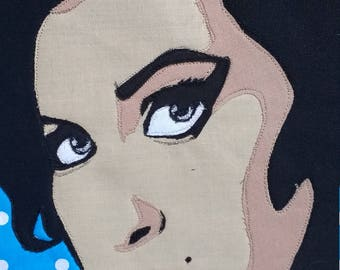 Amy Winehouse patchwork free motion embroidered pop art cushion.