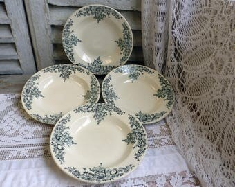 Set of 4 antique french forest green transferware soup plates. Dark green transferware. Jeanne d'Arc living. French nordic decor. Louis XV.