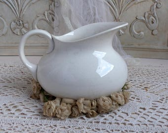 Antique french white ironstone pitcher. White washing pitcher. Tea stain white pitcher Jeanne d'Arc living French nordic decor. Shabby white