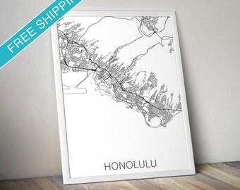 Honolulu Map Print