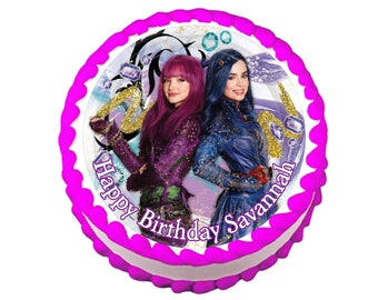 Disney Descendants Mal and Evie round party decoration edible cake image cake topper frosting sheet