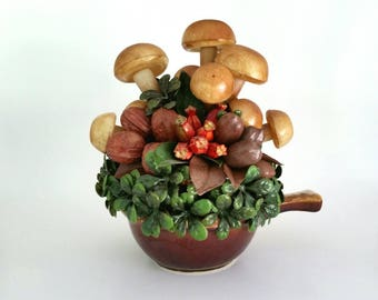 Vintage Hull Pottery Soup Bowl Artificial Flower Arrangement, Plastic Mushrooms, Nuts and Foliage, Retro Decor, Floral Arrangement