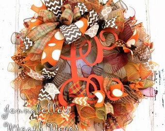 Fall Wreath, Autumn Decor, Jute Mesh Wreath, Burgundy, Burnt Orange, Brown, Painted Monogram Letter