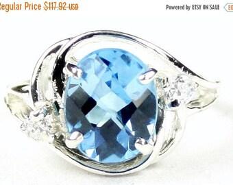 On Sale, 30% Off, Swiss Blue Topaz, 925 Sterling Silver Ladies Ring, SR021